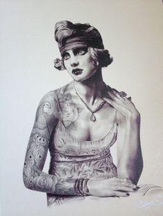 """Saatchi Online Artist: Ralph Silerio; Graphite Drawing """"Gatsby Girl"""""""