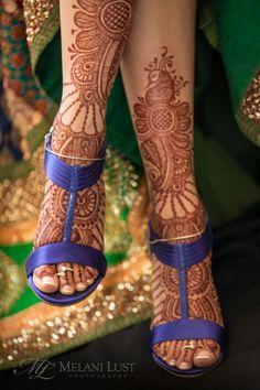indian wedding mehndi feet purple shoes - peacock themed Indian wedding - Melani Lust Photography