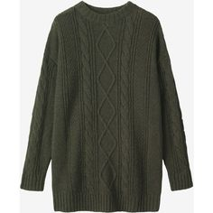 Toast Merino Aran Sweater (4 610 UAH) ❤ liked on Polyvore featuring tops, sweaters, forest green, aran sweaters, drop shoulder tops, merino wool tops, aran fisherman sweater and long sweaters