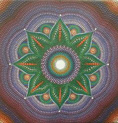 Purple green mandala. Painted on canvas. Colorful dots by DiaGifts