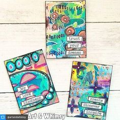 "New from Art & Whimsy: ""A few ATC's that I created to swap with some young, budding artists attending an art camp in Ohio. Thank you June Pfaff Daley and StencilGirl Products for this opportunity! I'm so excited to be a part of these kid's art experience."""