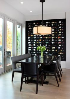 Basement- Modern wall #wine display. Black and white interior design. love this wine display wall