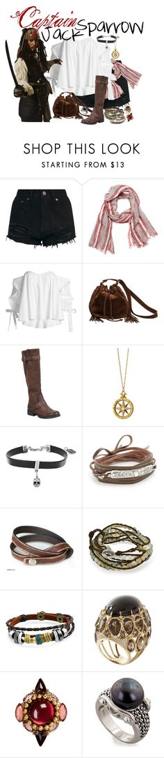 """Pirates of the Caribbean - Captain Jack Sparrow"" by nerdistbeach ❤ liked on Polyvore featuring Nine West, Caroline Constas, Chanel, Miz Mooz, Monica Rich Kosann, King Baby Studio, Chan Luu, NOVICA, Bling Jewelry and Erickson Beamon"
