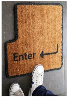 Geek up the entrance to your home by adding an enter key doormat to your front stoop. The enter key doormat is styled like the enter key you'd see on a QWERTY keyboard. You can try to convince guests that jumping on the key will open your door, too. Geek Decor, Do It Yourself Inspiration, Welcome Mats, Geek Culture, Geek Chic, Cool Stuff, Stuff To Buy, Geek Stuff, Front Stoop