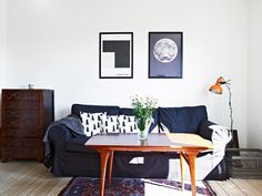 black and white w orange lamp
