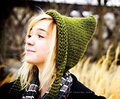Hand Knit Hat Womens Hat  Pixie Hat in Olive Green  by pixiebell