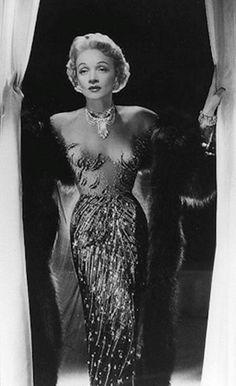 Marlene Dietrich, in Jean Louis. 1950's. Illusion gown. Jean Louis (born Jean Louis Berthault, 1907, Paris,