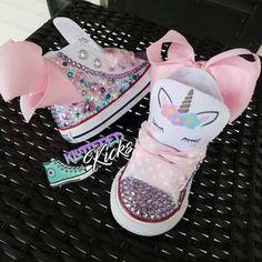 Unicorn Converse w/tutu backing   Etsy Unicorn Themed Birthday Party, Baby Girl Birthday, Unicorn Party, Zapatos Bling Bling, Bling Shoes, Baby Girl Shoes, Girls Shoes, Bedazzled Shoes, Baby Bling