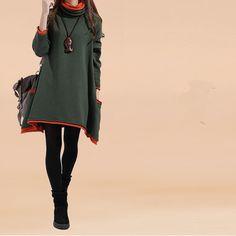 Frauen beiläufige lose Baumwolle Pullover Strickkleid - Tkdress - 2