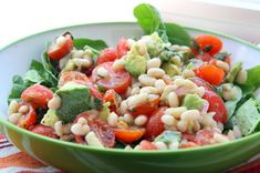 White Bean and Tomato Salad with Avocado and Basil#Repin By:Pinterest++ for iPad#