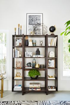 Neutral_Color_Shelf_Styling_Emily_Henderson--art on top of bookshelves to fill that space?