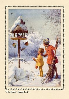 The Birds' Breakfast Christmas Garland (United States , 1942) llustrations by the English children's artist Margaret Tarrant (1888-1959).  Tarrant is best known for her depiction of fairy-like children and religious subjects which appeared in books, postcards and calendars.
