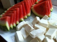 Watermelon and white cheese....a nice breakfast or light dinner