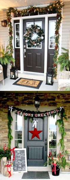 32 beautiful Christmas porches & front doors: how to create DIY outdoor Christmas decorations such as garlands wreaths wood signs ornaments pots etc! Best Outdoor Christmas Decorations, Decoration Christmas, Christmas Porch, Christmas Tree Decorations, Christmas Lights, Christmas Wreaths, Christmas Crafts, Holiday Decor, Outdoor Decorations