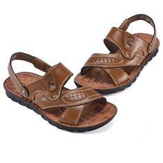Men Genuine Leather Hollow Out Breathable Slippers Casual Beach Sandals is comfortable to wear, cheap men sandals are on sale-NewChic. Sandals 2018, Beach Sandals, Shoes Sandals, Flip Flop Shoes, How To Get Money, Huaraches, Types Of Shoes, Republic Of The Congo, Men's Fashion