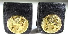 Gold Plated Wrap Around Cufflinks w Lion and Leather Wraps by Anson Karatclad  #Anson