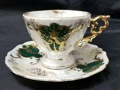 Royal Sealy China: Cup & Saucer, Green, Gold, White, Footed Tea Cup, Gold Trim