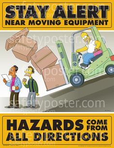 SafetyPoster.com - Moving Equipment - Simpsons Safety Posters - Simpsons Equipment Safety S1118 - www.SafetyPoster.com