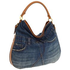 Lauren By Ralph Lauren Prescott Denim Hobo by None, via Polyvore