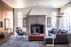 Traditional and timeless living space with tufted ottoman
