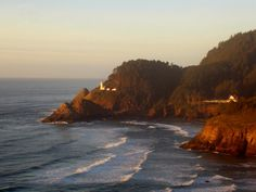 Oregon lighthouse in Yachats, Oregon.- places to stay