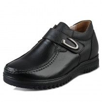 Black Korean Height Increasing business casual shoes add taller 6.5cm / 2.56inches elegant footsteps elevator shoes