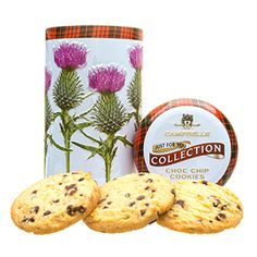 Round thistle tin with chocolate chip shortbread at the Scottish Gourmet USA