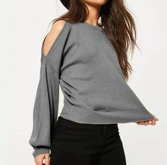 Plain gray cold shoulder sweater puff sleeves style for women