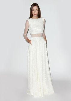 This Oh-So-Sheer Crop Top Set | 36 Ultra-Glamorous Two-Piece Wedding Dresses