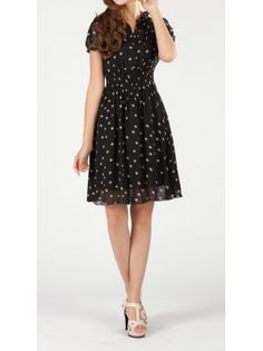 Polka Dot Buttoned Pleated Dress