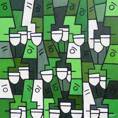 White Wine Party 26x26 inches - fun green abstract wine themed painting.