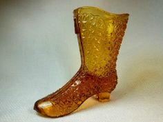 """Vintage Fenton Amber Glass Daisy and Button Boot  4"""" Tall x 4"""" Long"""