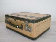 vintage small olive green and cream board suitcase by epochco