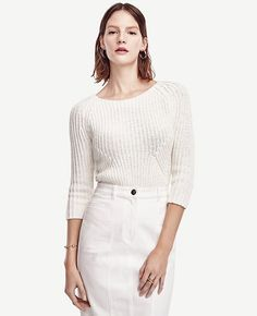 Image of Ribbed 3/4 Sleeve Sweater color Winter White