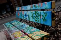 Image result for painted benches