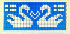 Swan x-stitch pattern Crochet Patterns Filet, Crochet Chart, Cross Stitch Patterns, Knitting Patterns, Beaded Cross Stitch, Cross Stitch Embroidery, Knitting Charts, Baby Knitting, Cross Stitch Pictures