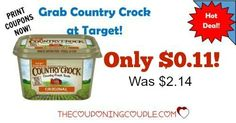 HOT DEAL! Grab CHEAP Country Crock Spread at Target with coupon, Cartwheel and rebate! We go through so much of this! Only $0.11 each! (reg $2.14!)  Click the link below to get all of the details ► http://www.thecouponingcouple.com/country-crock-spread/ #Coupons #Couponing #CouponCommunity  Visit us at http://www.thecouponingcouple.com for more great posts!