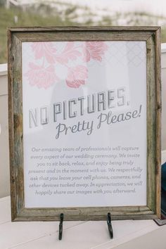 """No Pictures, Pretty Please!"" Unplugged Event Poster — Miss Pickles Press #weddingphotos"