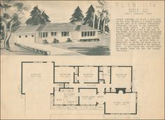 1950 home building plan service ranch style homes of the mid century - 1950 Style Home Plans