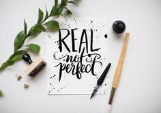 Creative Lettering, Real, Perfect, Jenny, and Highsmith image ideas & inspiration on Designspiration Hand Lettering Quotes, Calligraphy Quotes, Calligraphy Letters, Typography Letters, Modern Calligraphy, Lettering Design, Caligraphy, Penmanship, Calligraphy Handwriting