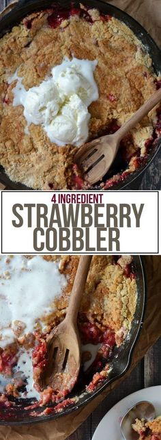 All you need is 4 ingredients to whip up this super easy and yummy Strawberry Cobbler! It couldn& be any easier and tastes out of this world! Strawberry Cobbler, Strawberry Desserts, Just Desserts, Delicious Desserts, Yummy Food, Cake Mix Recipes, Dessert Recipes, All You Need Is, Cake Mix Cobbler