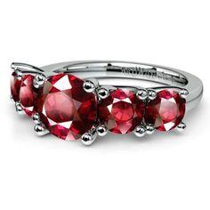 Trellis Five Sapphire Gemstone Ring in Platinum.
