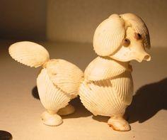 vintage seashell poodle figurine