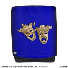 Comedy and Tragedy Theater Masks Cobalt Backpack