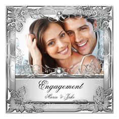 """Engagement Party Metallic White Silver Photo 5.25"""" Square Invitation Card"""