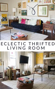 Rustic Mid-Century Living Room Makeover | http://www.heartsandsharts.com/rustic-mid-century-living-room-makeover/