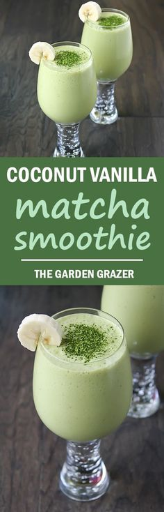 A light, refreshing smoothie to get your daily zenergy! Coconut Vanilla Matcha Smoothie (vegan, gluten-free)