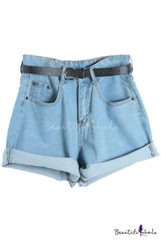 Plain Denim Oversize Belted Shorts in Loose Fit - Beautifulhalo.com