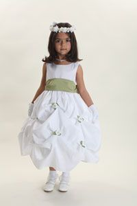 Flower Girl Dresses -Flower Girl Dress Style 2017-Sleeveless Taffeta Pick Up Dress With Choice of Sash and Flower Accent