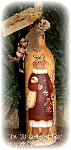 Ginger Thyme: Painted wine bottle
